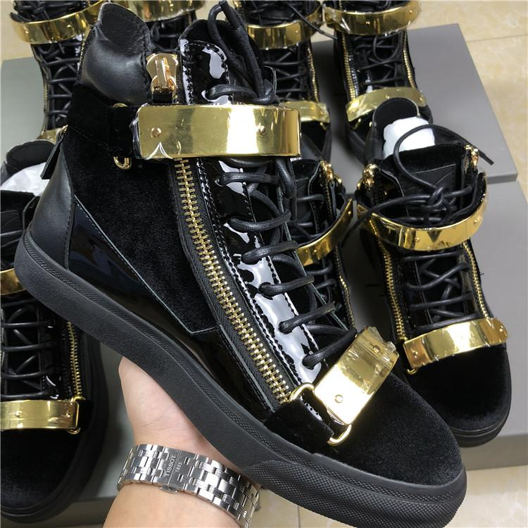 US4-11 Mens Sports Sneakers Metal Sheet Zipper High Top Boots Shoes Casual Genuine Leather Lace Up Flats Black Plus Size Unisex