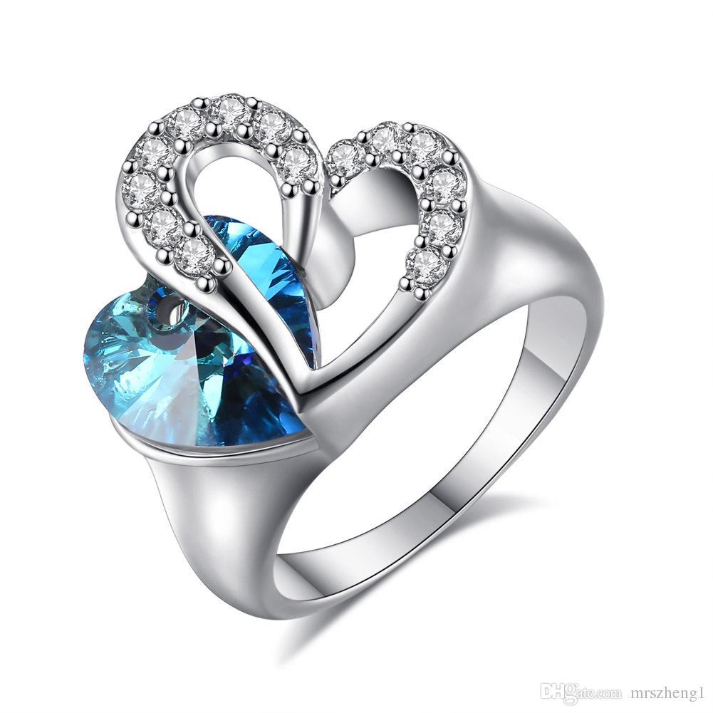 bague en platine en forme de coeur avec un océan fantaisie bague de  fiançailles en cristal en forme de coeur titanic