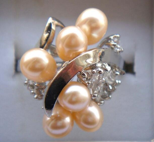Jewelryr Pearl Ring lady's charm cultured pink fresh water pearl CZ ring #7,8,9 Free Shipping