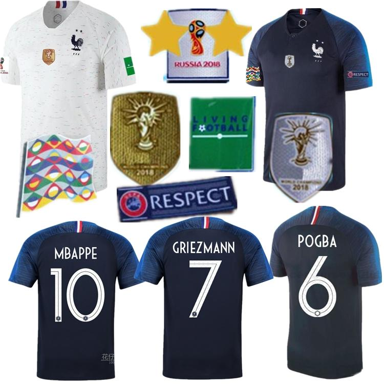 new product c0b14 50a0c Quality Direct Selling New 2 Stars Frances Jersey Griezmann Pogba Soccer  Jerseys 2018 World Cup Shirts Kante Football Mbappe Maillot De Foot