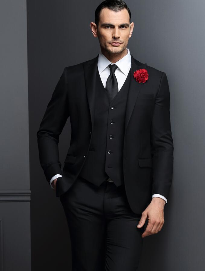 2019 latest coat pant designs black smart casual men suits peaked lapel slim fit suit for wedding prom tail made costume 3 piece