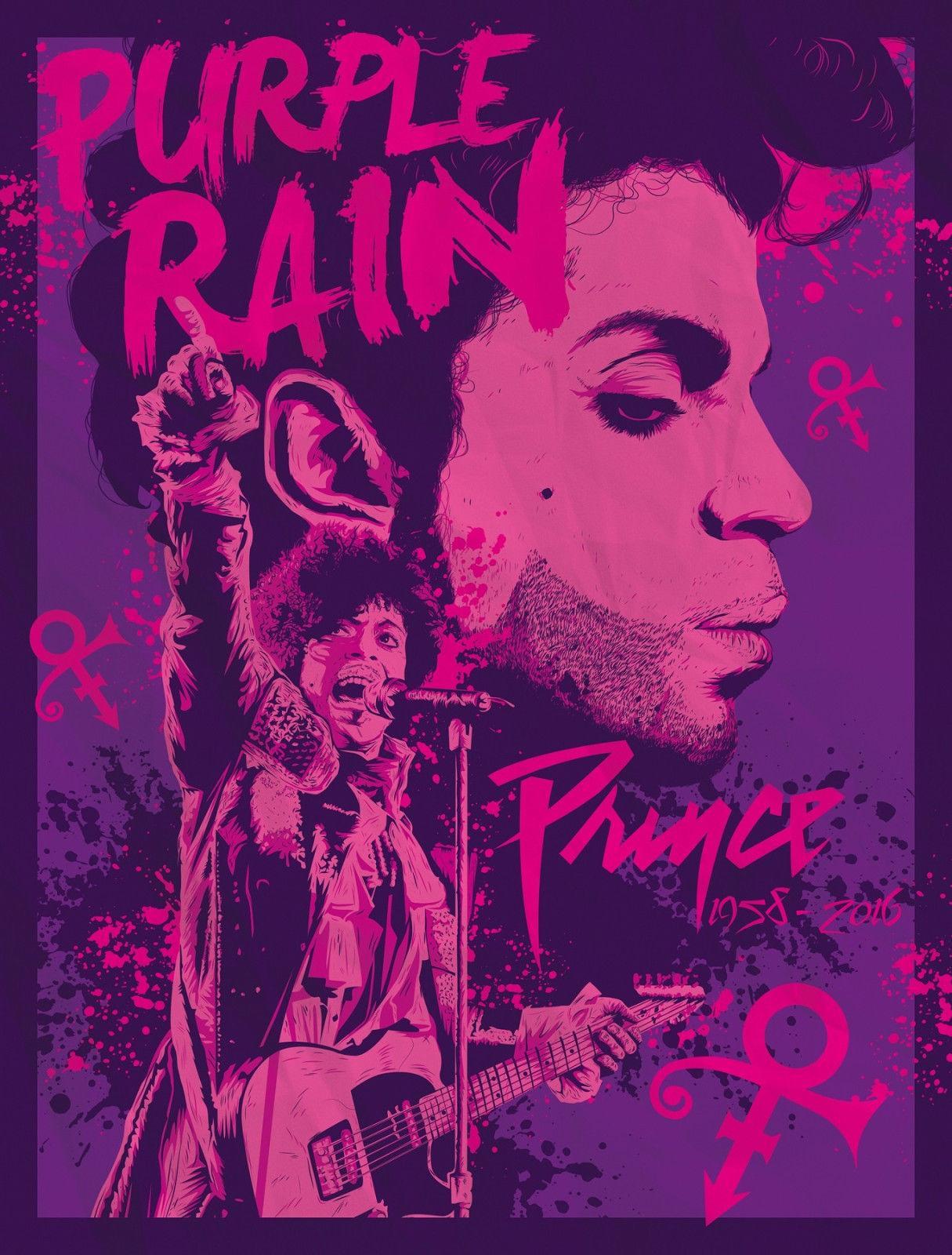 Prince Purple Rain Digital Art Silk Print Poster 24x36inch(60x90cm) 018