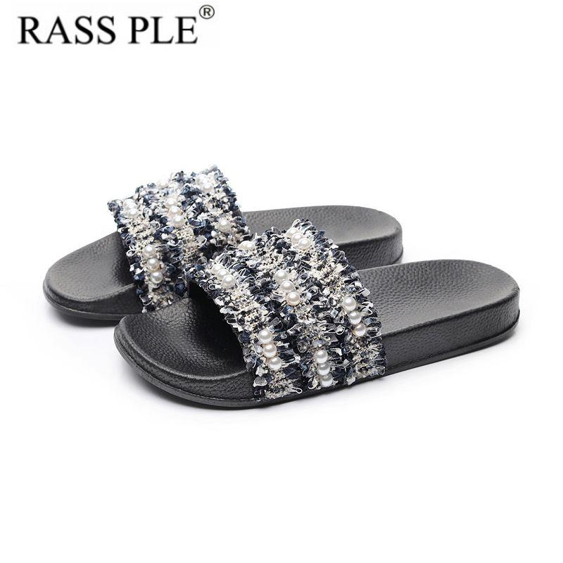 cd3eac3b70616e RASS PLE New Fashion 2019 Women Summer Flip Flop Shoes Sliders Pearl ...