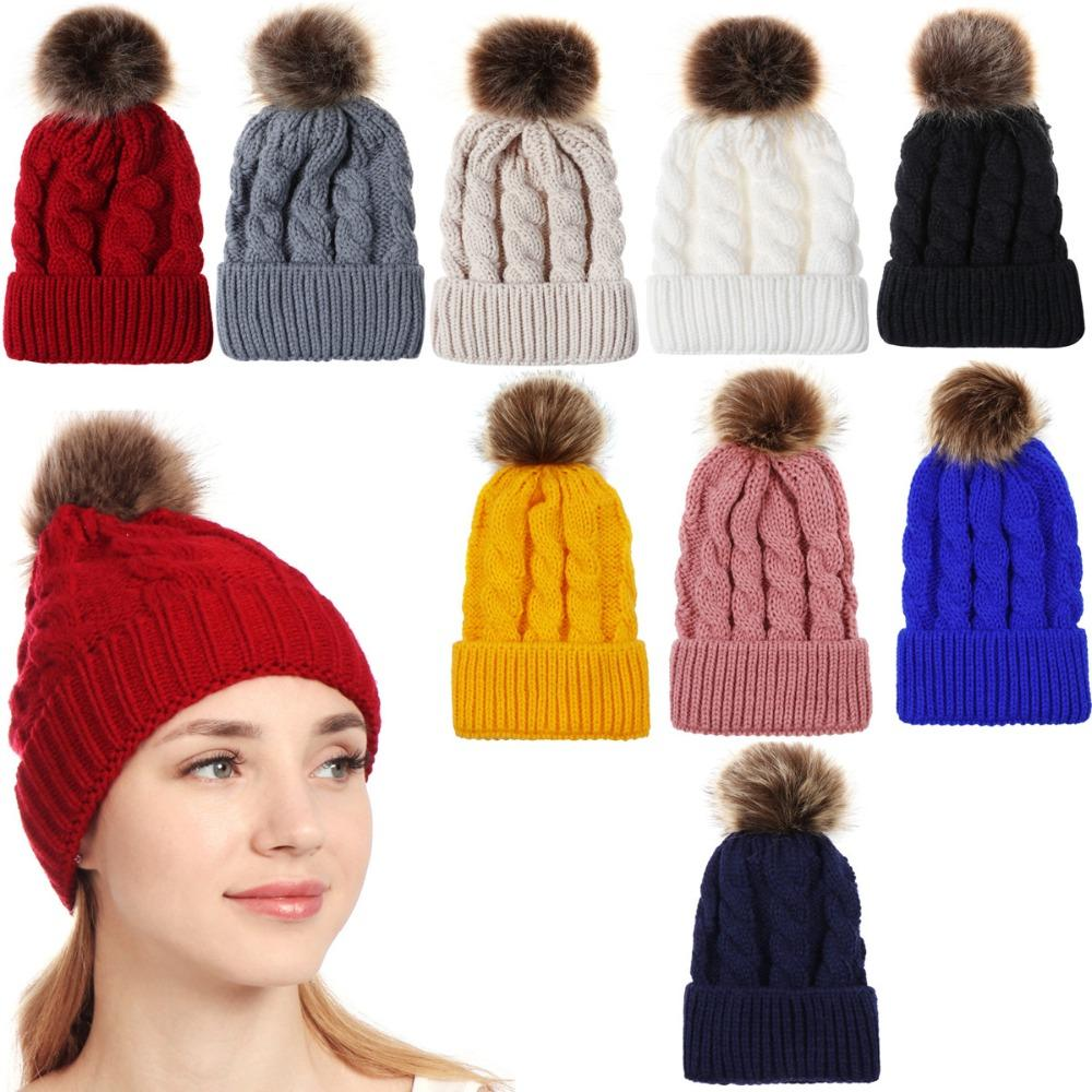 b9586d30b0ff8 2019 Women Winter Warm Knitted Hat Slouchy Pom Pom Beanie Hat Ski Cap From  Miaoshakuai