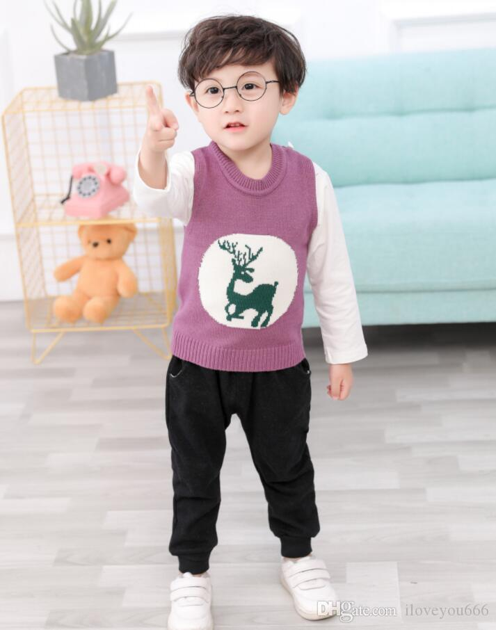 New Kids and Babies Clothes Suit All-cotton Deer Sweater Three-piece Kids Suit direct deal 1-4 Years Old