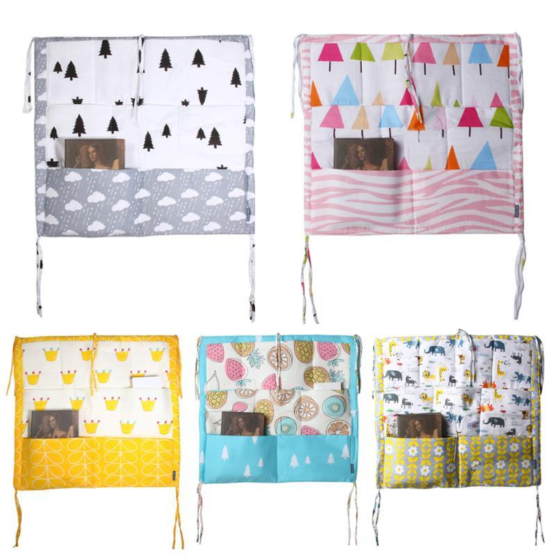 60*50cm Hanging Storage Bag Muslin Tree Bed Baby Cot Bed Baby Cotton Crib Organizer Toy Diaper Pocket for Crib Bedding Set