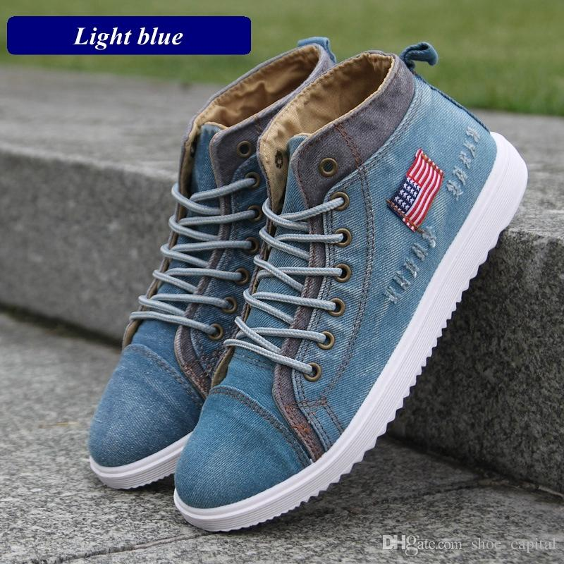 9f6cdc82da8 British Style Men Casual Shoes Denim Canvas Shoes Men Sneakers High Top Man Ankle  Boots Flat Usual School Boy Footwear  190197 Ladies Shoes Loafers For Men  ...