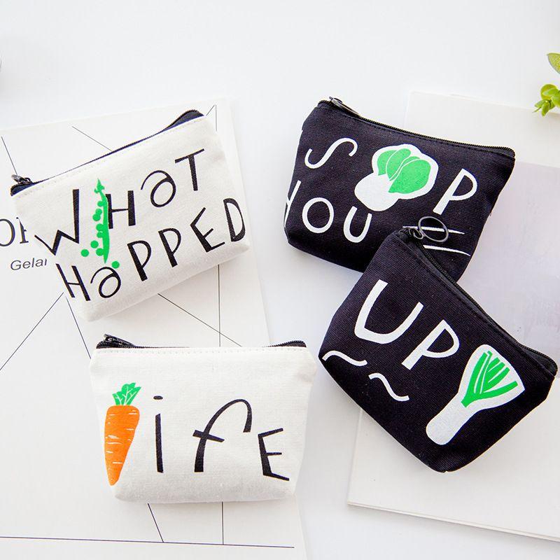 2019 INS 12X9cm Cute Vegetarian Canvas Mini Coin Purse Change Wallet Children Birthday Gift Storage Accessories Boys Girls Toddler Pattern Little