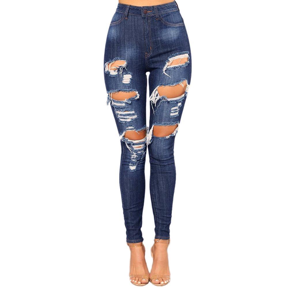 a64a24b1cc1937 Acquista Jeans Strappati Alla Moda Le Donne Pantaloni Sottili A Vita Bassa  Jeans Casual Skinny Denim In Buco Di Cotone A $26.0 Dal Glorying |  DHgate.Com