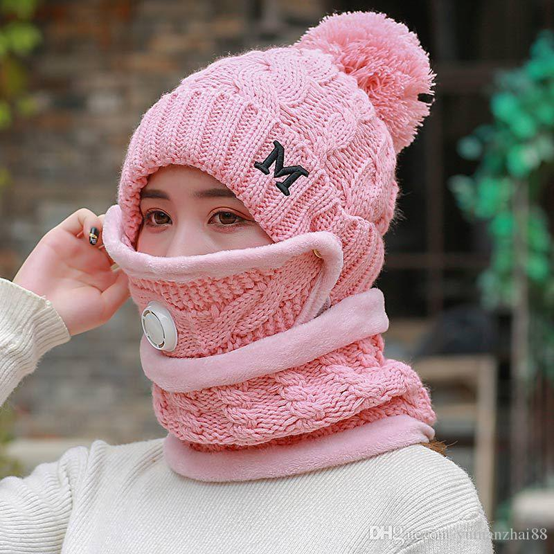 Korean winter thick fleece women hats+scarves+mask 3 piece set knitted earmuffs neckerchief suits windproof high quality