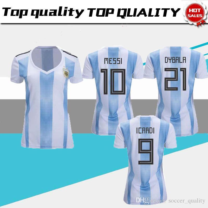 2019 2018 Argentina Home Soccer Jerseys Women S World Cup 18 19 Football  Jersey MESSI DYBALA Ladys Shirts Female Top Thai Quality Sports Uni From ... 2df461ce95