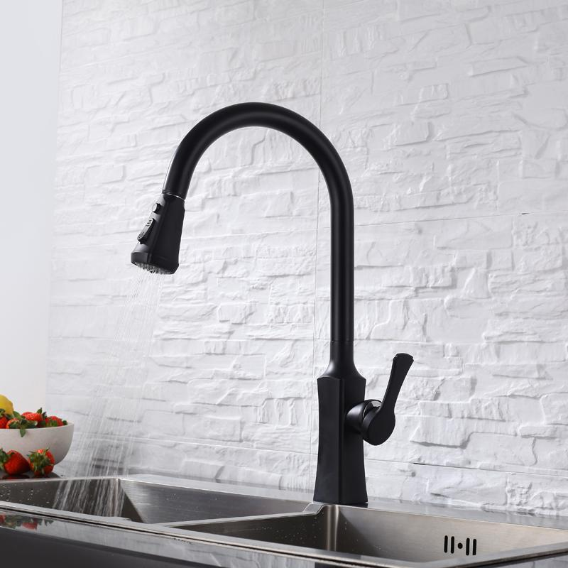 Olmey Bright Black Kitchen Pull Down Sink Faucets With Flexible Sprayer Deck Mounted Single Handle Kitchen Mixer Taps 12002 V13
