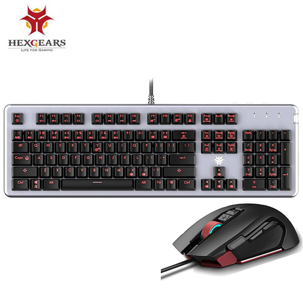 HEXGEARS GK755 B 104 Keys PBT Keyboard Mouse Combo Mouse Gamer Mechanical  Keyboard Backlight RGB Gamer Set