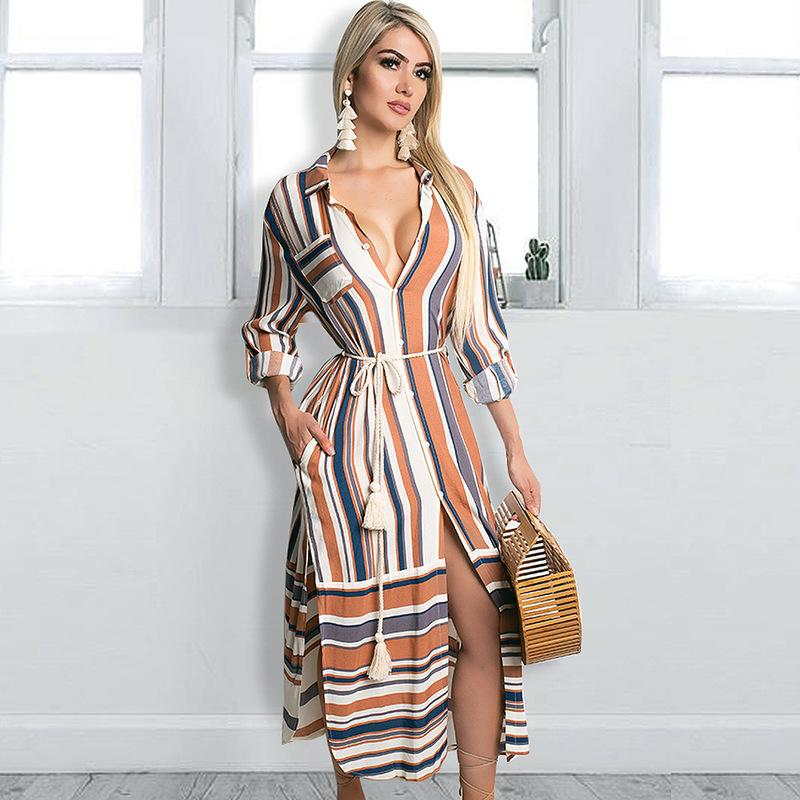 Lady Dresses Elegant Plus Size Women Dress Maxi Long Womens New Arrival 2019 Dinner For Stripe Sleeved Belt Tunic Shirt Beach