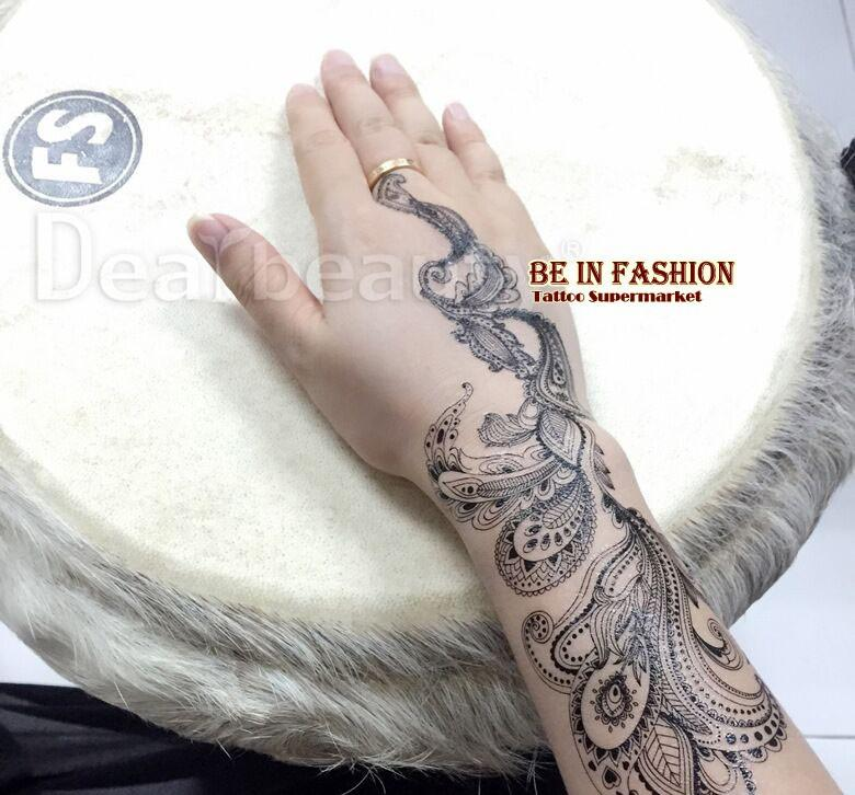 one piece Arabic lace black white flash henna temporary tattoos fake tatoo stickers flesh tatto choker Trendy tattoo bride J006