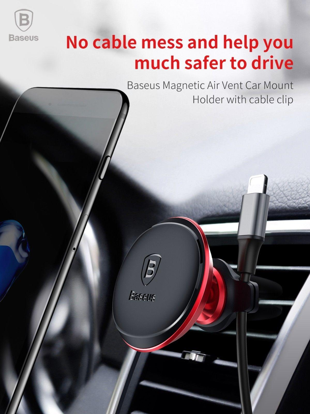 various colors ea81c 2c70a Baseus Magnetic Air Vent Car Mount holder with cable clip For iPhone X 7 6s  Plus Samsung 360 Rotate GPS Universal phone Holder