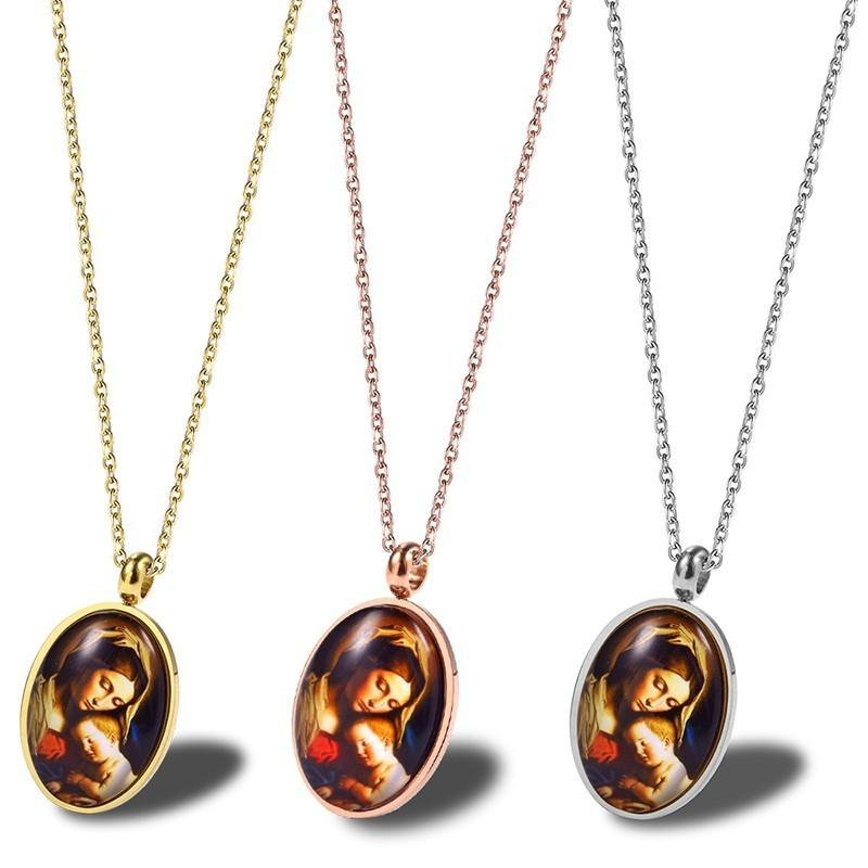 RIR Stainless Steel Silver Gold Rose Religious Virgin Mary with Her Baby  Jesus Pendant Necklaces Bless Mama Mary Jewellery