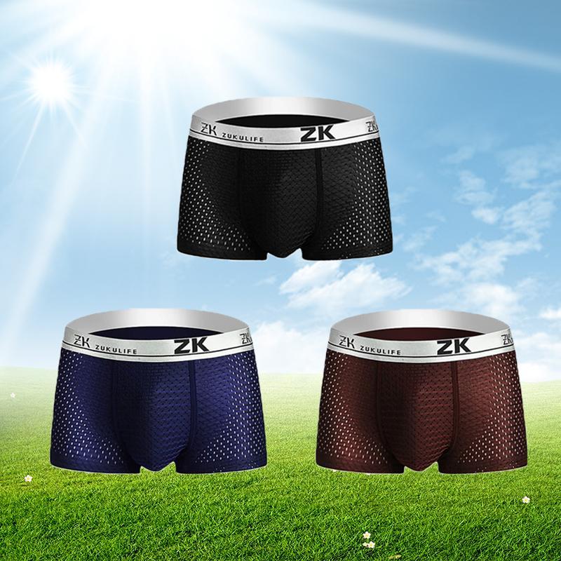 cc9221a3a184 Compre 3 Unids Pantalones Cortos Para Hombre Ropa Interior De Seda De Hielo  Malla Transpirable Boxers Modal Boxer Sexy Bragas Masculinas Calzoncillos  De ...