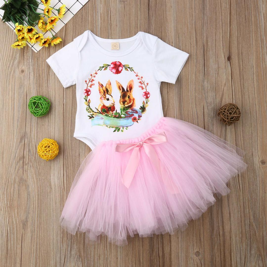 eca410bbb88 Pudcoco girl set newborn baby girls rabbit cartoon romper tutu skirt  outfits clothes easter from dejavui