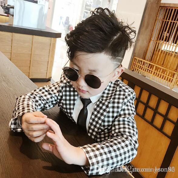 Hot sale Children's clothing spring and autumn a boy's suit Korean version handsome chequer new year suit 2-piece set Coat Pant