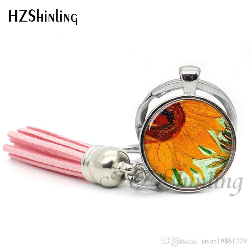 2019 Fashion The Starry Night by Vincent Tassel Keyring Handmade Jewelry Van Gogh's Painting Bohemia Keychain Key ring For Women TAK--05