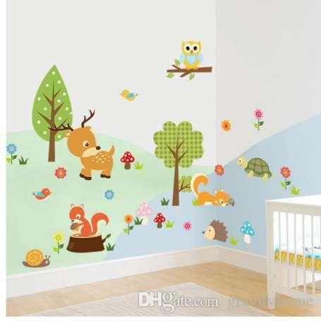 Acheter Stickers Muraux Bricolage Enfants De La Foret Animaux