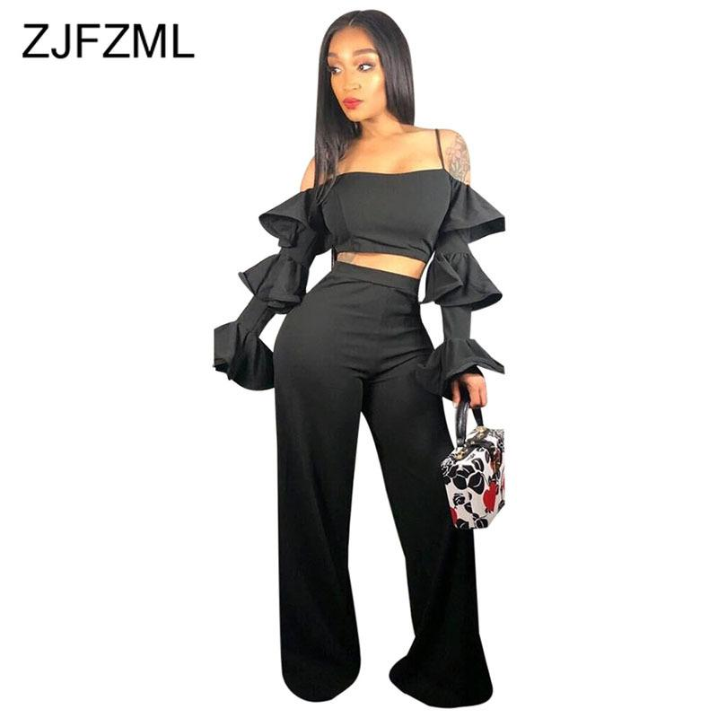 8f5fc4e935b 2019 Sexy Sweat Suit Women Clothes Black Butterfly Sleeve Spaghetti Strap Crop  Top And Wide Leg Pant Club Party Matching Set From Armhole, $36.16 | DHgate.