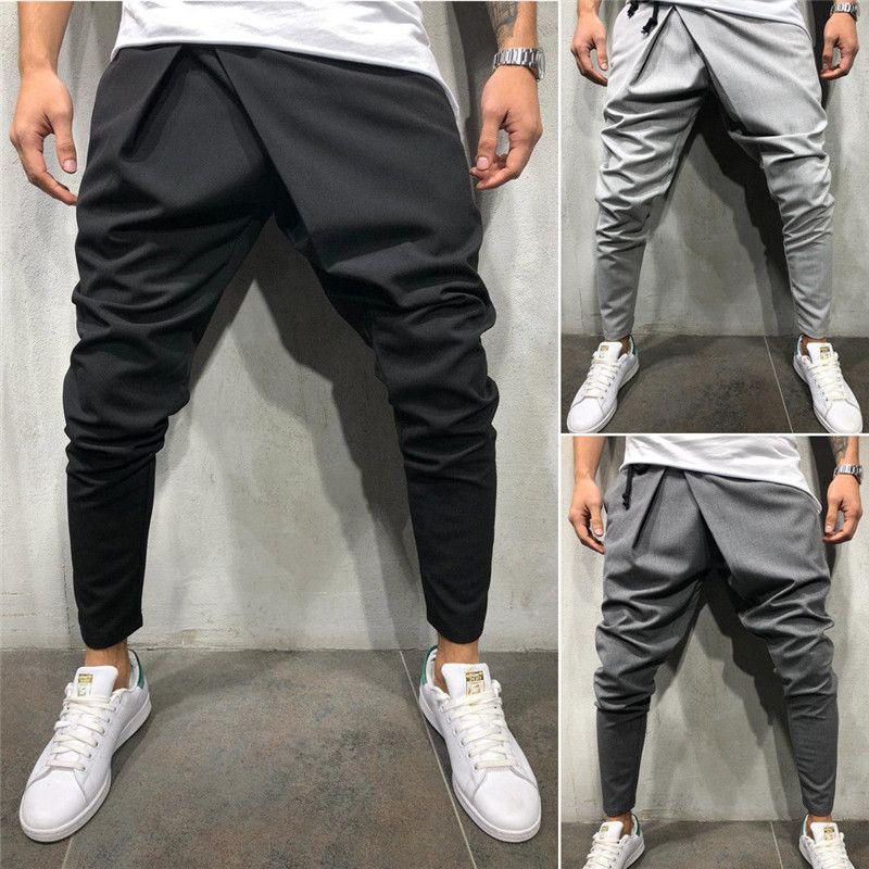 2a3a679e 2019 a estrenar para hombre pantalones deportivos casuales Slim Fit recto  chándal Jogger Gym Pantalones Moda hombres con cordones Lápiz pantalones ...