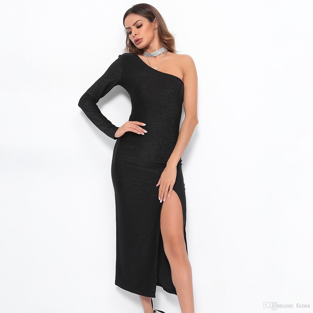 fc21ddfd68557 2019 women clothing long sleeve one shoulder split solid shiny bodycon  dress Female sexy fashion slim Midi party dresses D6021