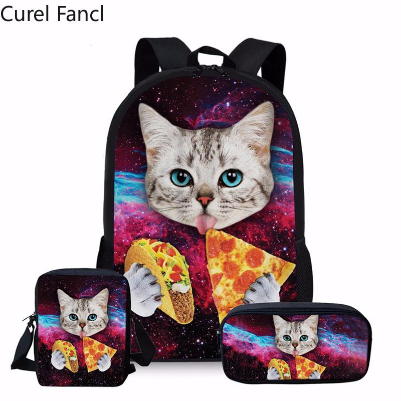 edf990f252 Hot Black Cat Print School Backpack For Teenage Girls Cute Student Kids  Bagpack Preppy Children Kids Rucksack Book Bags Satchel Bags Man Bags From  ...