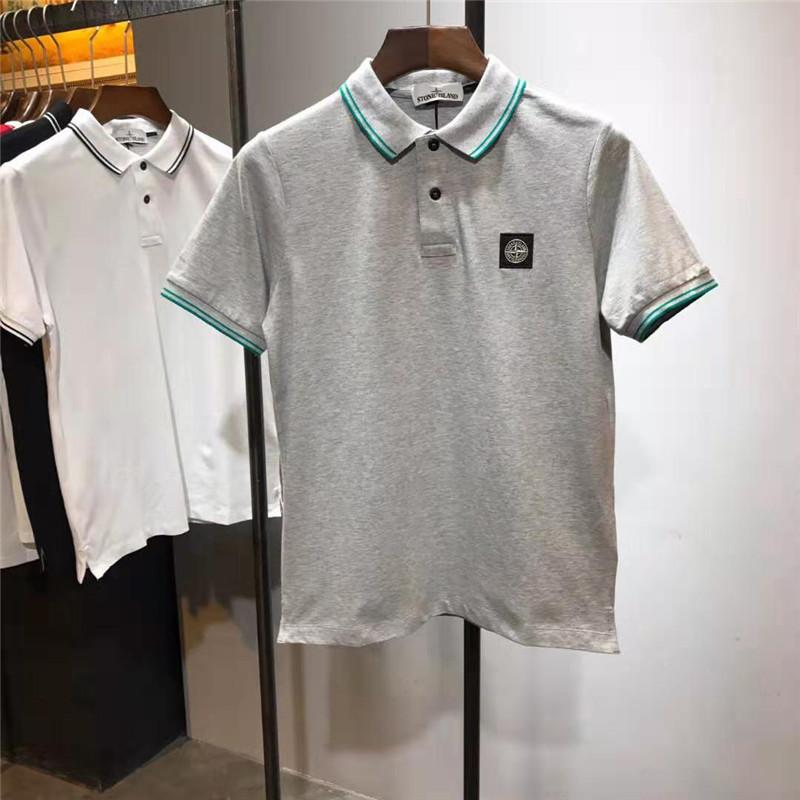 5e8b764a85db 2019 Mens Designer Shirts New Brand Polos Summer Short Sleeve STONE Brand  Polo Casual Stand Collar Male Luxury Polo Shirt Size M 2XL From Vv tees