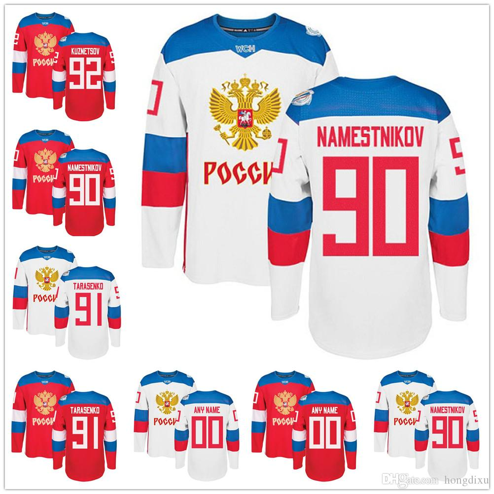 c0c2d1f42 Men s Team Russia 2016 World Cup of Hockey Custom Blank Jersey 92 ...