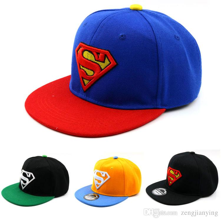 3e06592ceee 2019 Summer Cartoon Kids Snapback Hiphop Superman Baseball Caps For ...