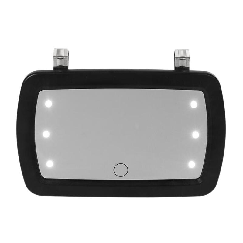 Car Sun Visor Mirror Makeup Sun-Shading Cosmetic Mirror Vanity Automobile Make Up with Six LED Lights Car Styling
