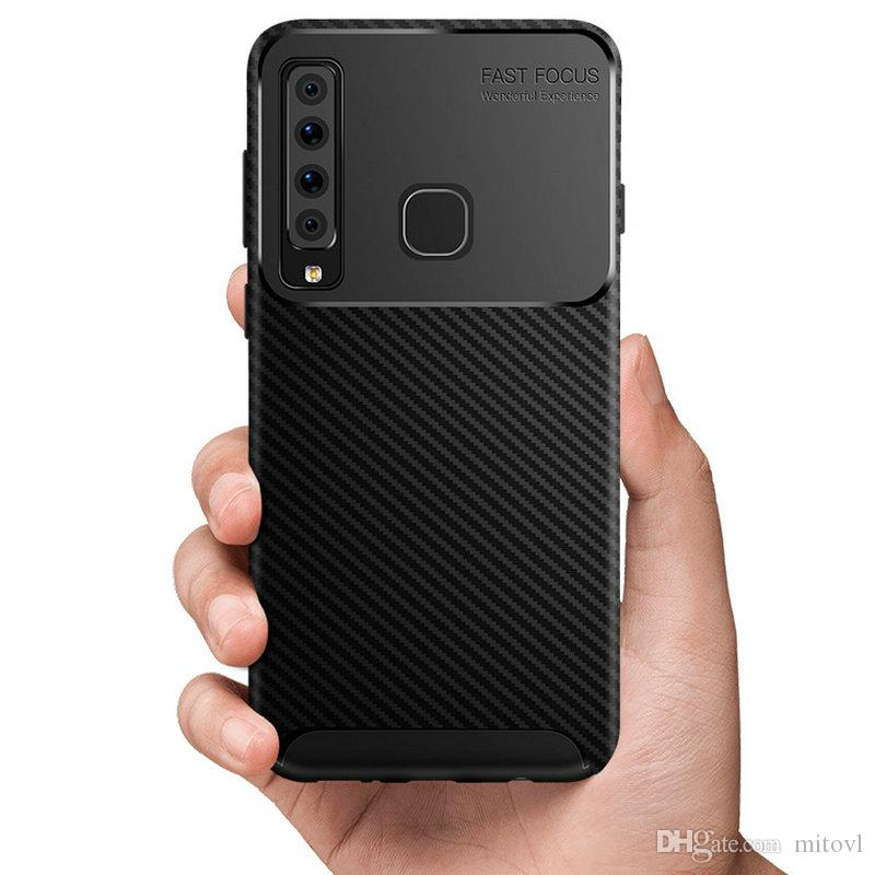 50pcs For Samsung Galaxy A9 2018 Anti-Shock Case Carbon Fiber Rugger Armor TPU Case For Galaxy A7 2018 A750