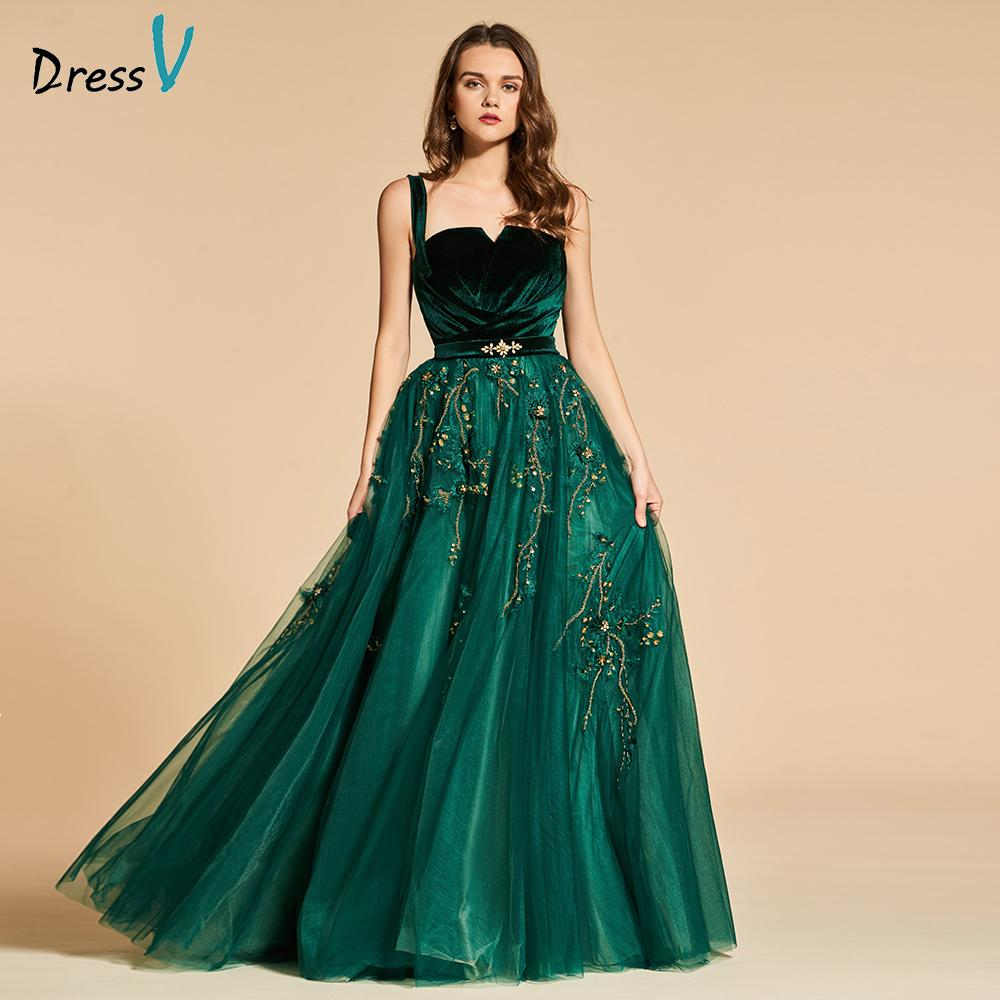 f0b9dc231a1 2019 Dressv Green Long Evening Dress Elegant Spaghetti Strap Beading Zipper  Up Wedding Party Formal Dress Lace Evening Dresses Y19042701 From Huang01