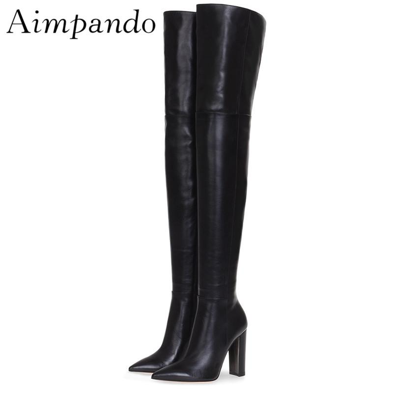 73e30e1bcb4 Sexy Point Toe Over The Knee Boots Chunky Heel Black Autumn Winter High  Boots Side Zip New Fashion Long Booties For Women