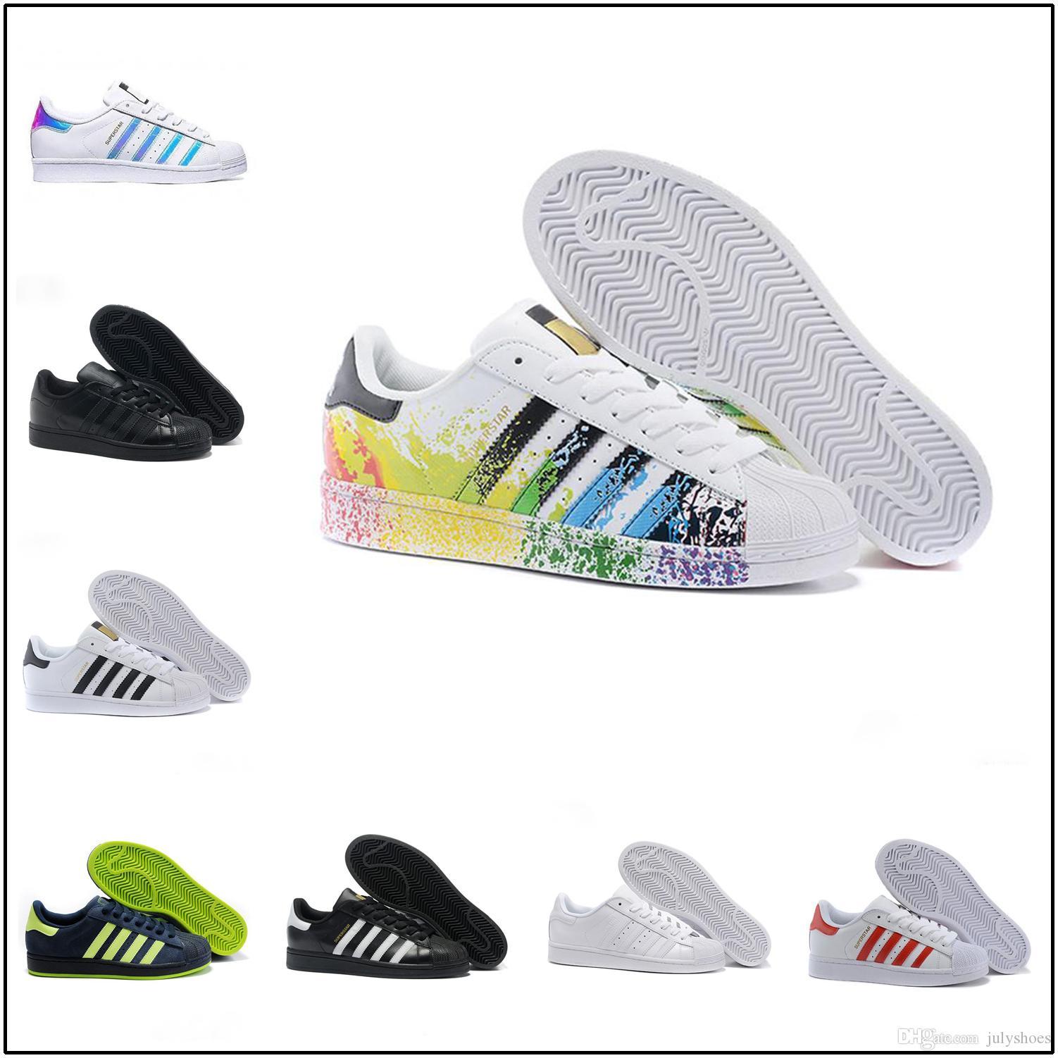 Adidas Superstar Smith Allstar New Originals Superstar Weißes Hologramm Irisierende Junior Superstars 80er Jahre Stolz Sneakers Super Star Damen
