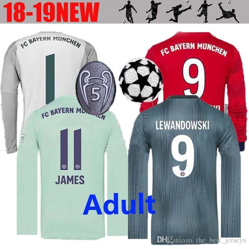 18 19 Camiseta De Manga Larga Bayern Munich Soccer 2018 2019 James KIMMICH  VIDAL LEWANDOWSKI MULLER TOLISSO HUMMELS Camisetas De Fútbol Kimmich Por ... 075c6183a09b0