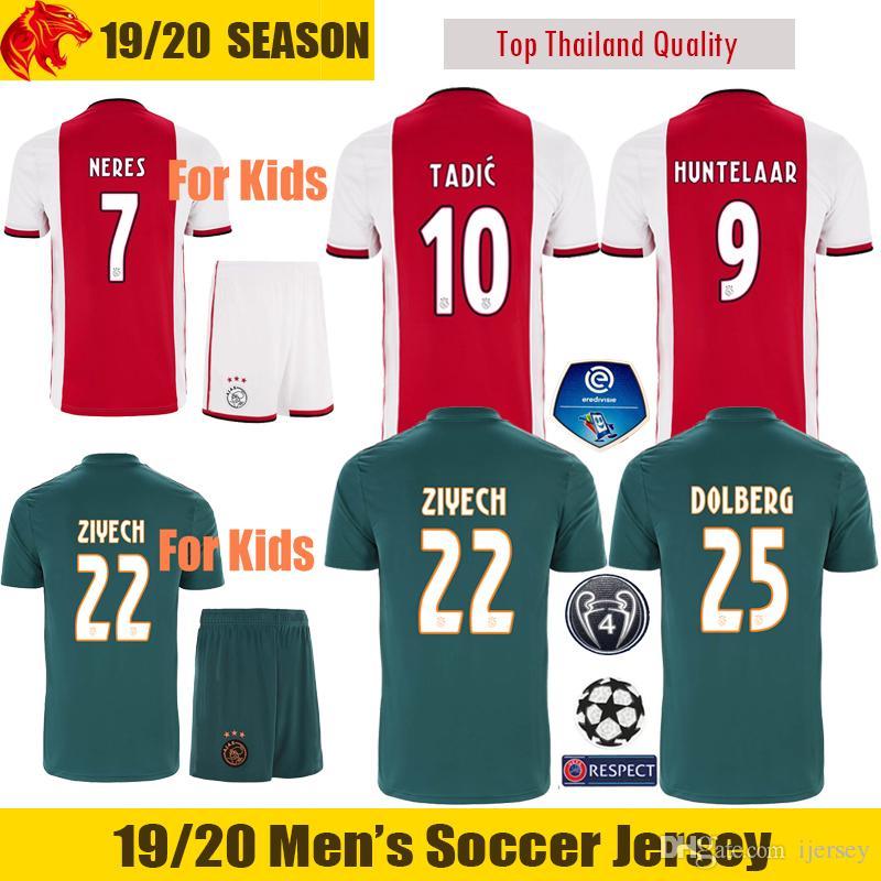 3a266036f4b 19 20 Ajax Camiseta De Fútbol DE JONG DE LIGT Soccer Jerseys VAN DE BEEK  NERES 2019 2020 Ajax Amsterdam Niños Camisa De Futebol TADIC ZIYECH Maillot  De Foot ...