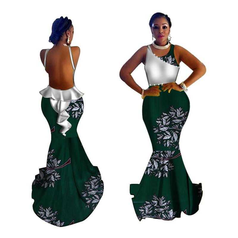 5f99ac34984 Fashion African Dresses For Women Wedding Party Evening Long Dress Sexy  Backless African Print Bazin Riche Dress Clothing WY3761 Gold Summer Dress  Black ...