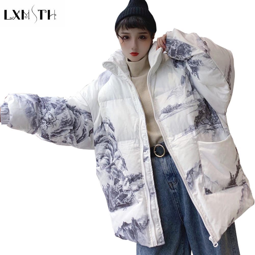 0b1b4ee5594f07 LXMSTH Solto Nova Moda Imprimir Grosso Parkas Mulheres Inverno Coreano  Streetwear Jaqueta Paisagem Pintura Bolsos Pão Casaco Tamanho Grande