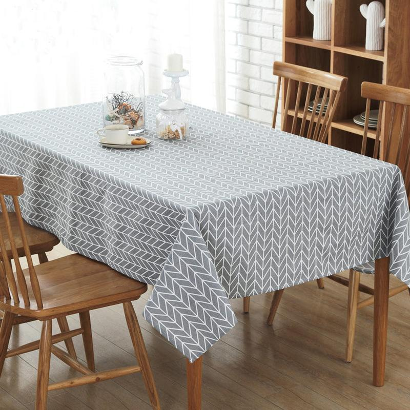 DHgate.com & Simanfei Europe Tablecloth Stripe Dot line Cotton and linen Table Cover Rectangular Elegant Home Party Wedding Decoration