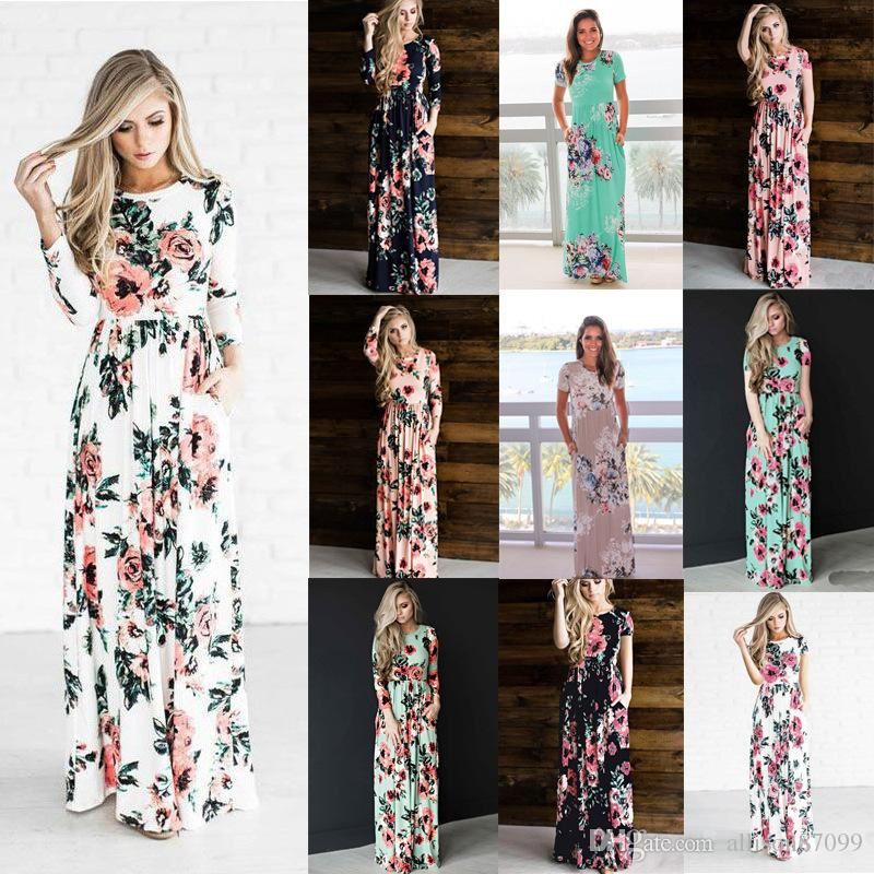 663dcba630bd Summer Dresses Long Dress Elastic Waist Floral print Long Sleeve Women  Clothing Plus Size Robe Hot Selling China women clothing manufacturer Womens  Party ...
