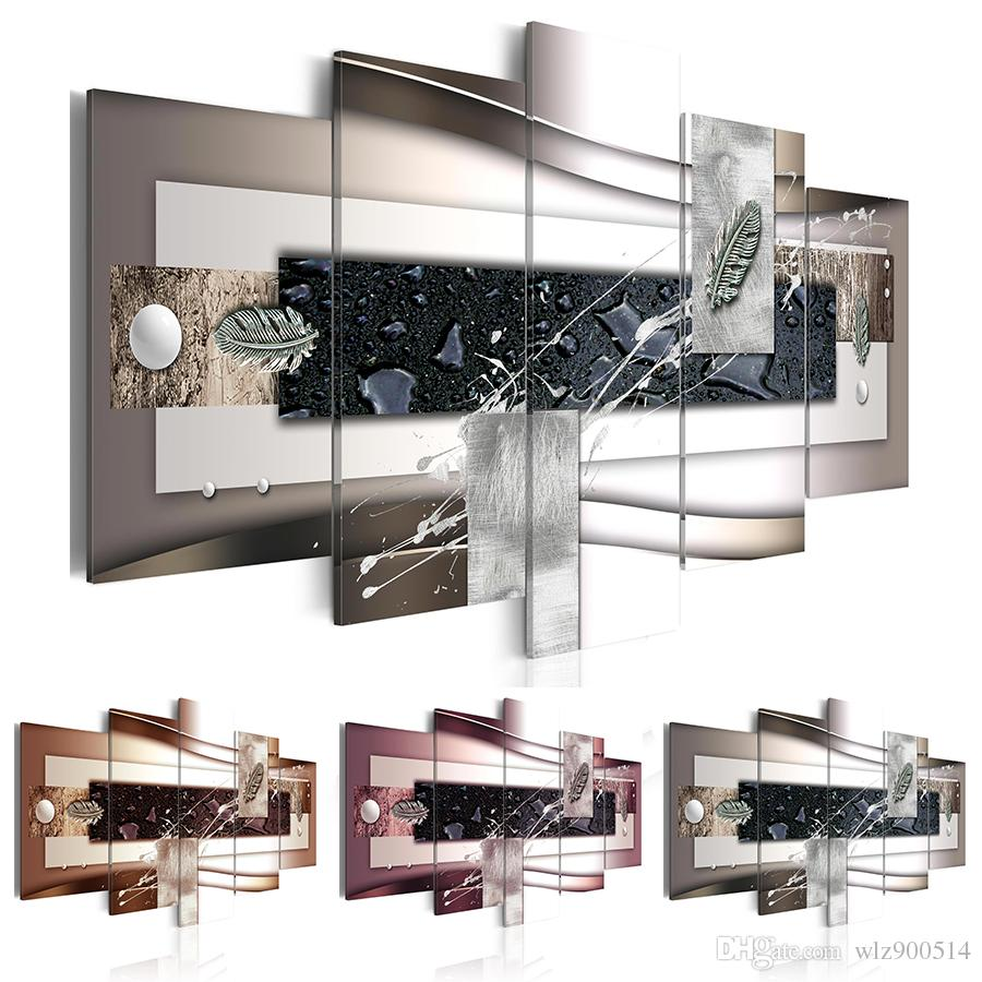 Fashion Wall Art Canvas Painting 5 Pieces Abstract Water Droplets Silver Leaves Modern Home Decoration Choose Color Brown Red Black And Siz