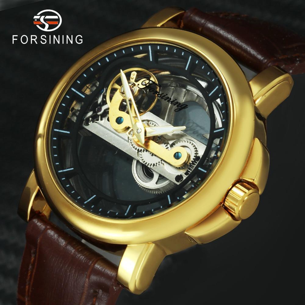 Compre FORSINING Vintage Auto Reloj Mecánico Hombres Golden Bridge Diseño  Transparente Dial Correa De Cuero Relojes Para Hombre Top Band De Lujo A   57.41 ... a4f9799b9ec2