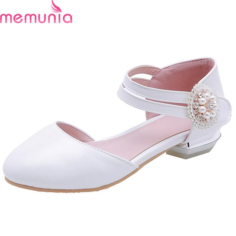 f8f0c57a19052 MEMUNIA 2019 New Arrival Women Flat Shoes Pu Round Toe Pearl Spring Summer  Shoes Sweet Elegant Party Wedding Woman Pink Designer Shoes White Shoes  From ...