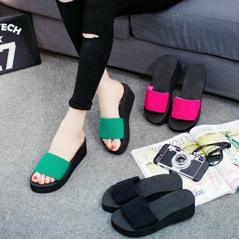 056f5e8240b Summer Rainbo EVA Ladies Women Sandals shoes Platform bath slippers Wedge  Beach Flip Flops High Heel Slippers Woman WX02