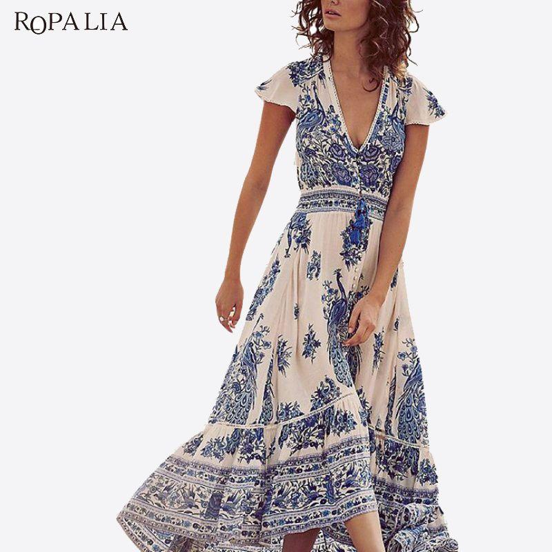 a05ae5bce5 ROPALIA Chiffon Deep V Women Summer Vintage Dress Short Sleeve Gypsy Floral  Hippie Boho Long Maxi Beach Split Dresses Vestido T7