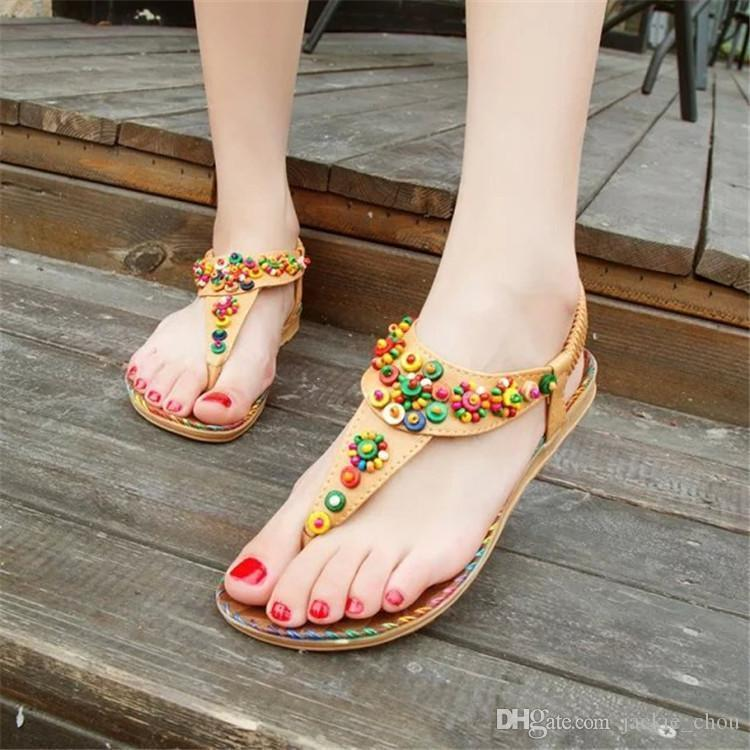 9c095838d0 Lucky2019 Style National Wind Pinch Pop Ladies Summer Shoes Bohemia Beaded  Flat Heel Sandals 818